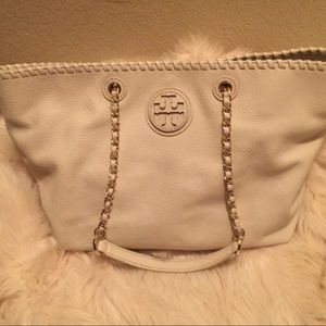 Tory Burch white leather tote